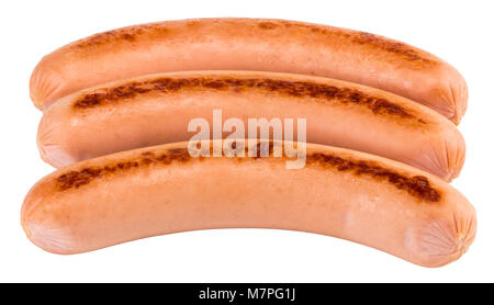 Tasty grilled sausage isolated on a white background. - Stock Photo