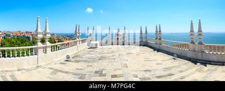 Sea view and cityscape from roof of  Monastery of St. Vincent Outside the Walls, or Church (Iglesia) de Sao Vicente - Stock Photo