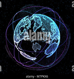 Connections global communication orbits in the world map view on 3d illustration connections global communication orbits in the world map view on dark space background 3d illustration gumiabroncs Gallery