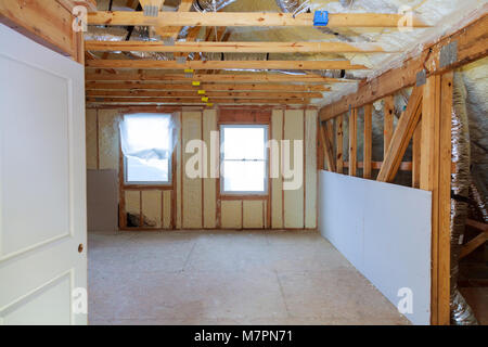 thermal and hidro insulation Inside wall insulation Interior view construction new residential home. - Stock Photo
