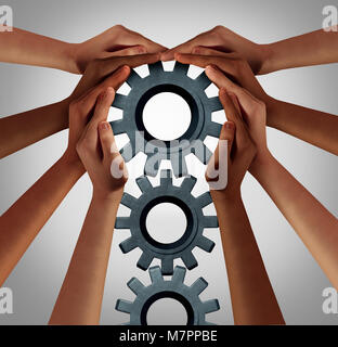 Industry union and business collaboration concept as a team of diverse people turning a group of gears as company - Stock Photo
