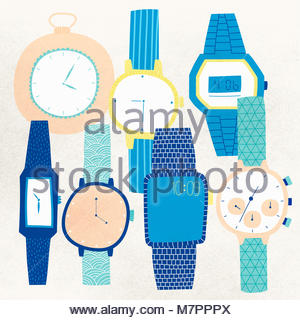 An assortment of different watches - Stock Photo