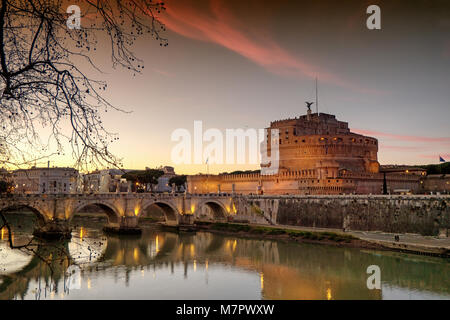 Sunset at Saint Angelo Castle in Rome, Italy - Stock Photo