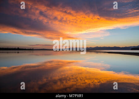 Sunrise on Yellowstone Lake (Flat Mountain Arm) - Stock Photo