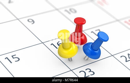 Events reminders of a busy day concept with 3 colored push pins on a calendar page 3D illustration. - Stock Photo