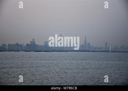 Shenzhen bay and skyline seen from New Territories, Hong Kong - Stock Photo
