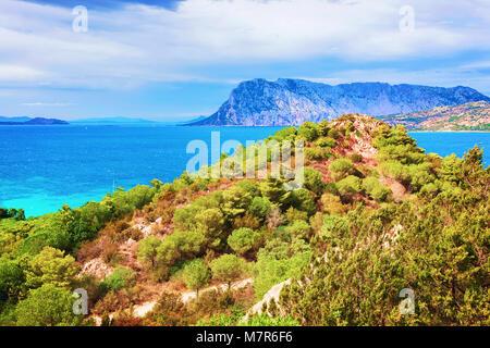 Tavolara Island seen from San Teodoro, Olbia Tempio province, Sardinia, Italy - Stock Photo