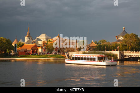 Orlando, USA - March 22, 2009. A ferry carries visitors around the World Showcase Lagoon at Epcot World Showcase, - Stock Photo