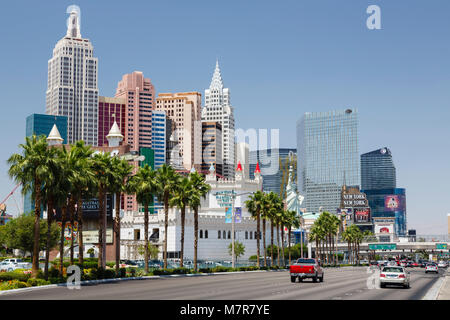 Las Vegas, USA - May 19, 2012. Excalibur Hotel and New York New York Hotel and Casino on Las Vegas Boulevard. - Stock Photo