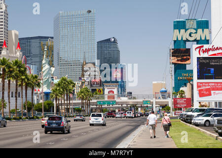 Las Vegas, USA - May 19, 2012. New York New York Hotel, Excalibur Hotel, and MGM Grand Hotels on The Strip, Las - Stock Photo