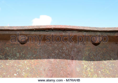 Pack Rust on Truss Bridge. Pack Rust is a common form of rust that affects steel bridges and other steel structures. - Stock Photo