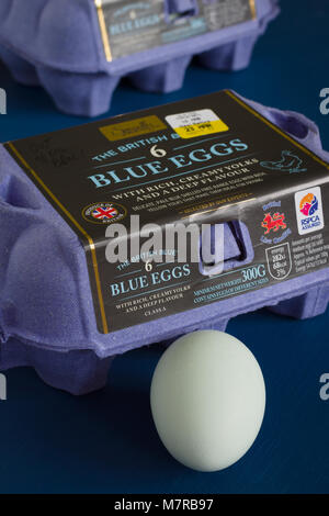 The British Blue hens eggs stocked under the Aldi Specially Selected brand developed and produced in Lincolnshire - Stock Photo