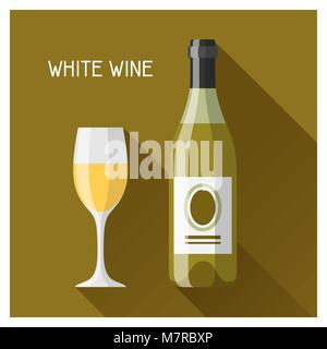 Bottle and glass of white wine in flat design style - Stock Photo