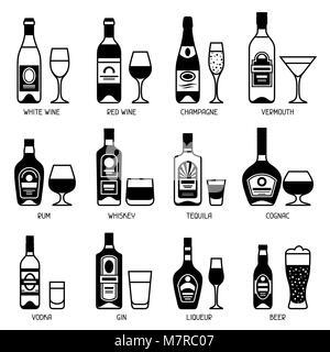 Alcohol drinks icon set. Bottles, glasses for restaurants and bars - Stock Photo