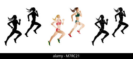 set women runners sprinters run: black and colored silhouette - Stock Photo