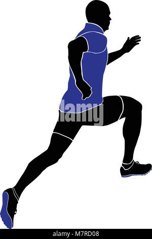 athlete sprinter runner running in sports clothing and racing track spike - Stock Photo