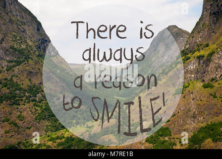 Valley And Mountain, Norway, Quote Always Reason To Smile - Stock Photo