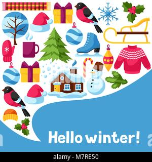 Hello Winter Background. Merry Christmas, Happy New Year Holiday Items And  Symbols   Stock