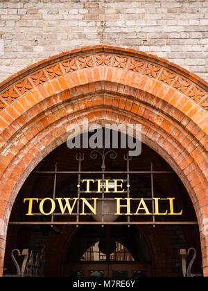 Reading Town Hall Sign, Reading Town Hall, Reading, Berkshire, England. - Stock Photo