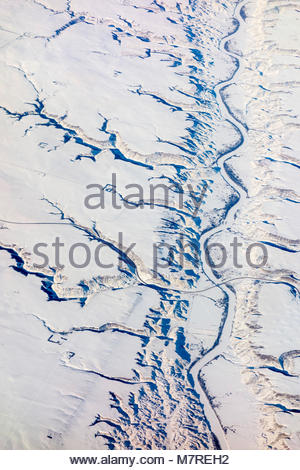 Alberta highway 27 crossing the Red Deer River in the badlands near Drumheller Alberta Canada. - Stock Photo