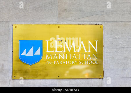 New York City, USA - October 30, 2017: Wall street stock exchange 25th Broad st building entrance sign, apartment - Stock Photo