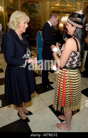 Duchess of Cornwall meet with performers at a reception held by the Commonwealth Secretary-General, Rt Hon Patricia - Stock Photo