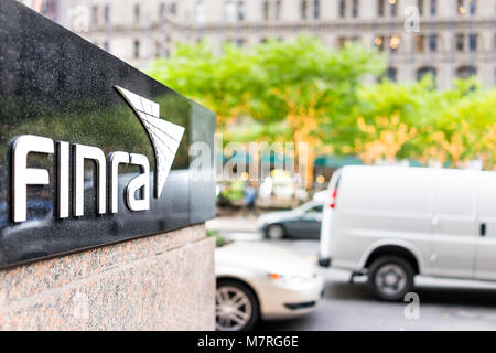 New York City, USA - October 30, 2017: Sign on the building of Financial Industry Regulatory Authority, or Finra, - Stock Photo