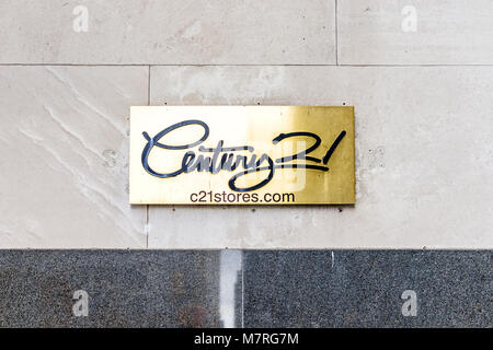 New York City, USA - October 30, 2017: Century 21 department store in NYC Manhattan lower financial district downtown, - Stock Photo