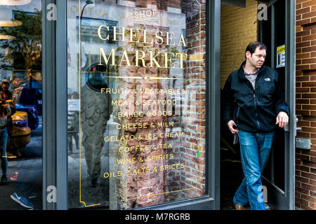 New York City, USA - October 30, 2017: Market food shop entrance in downtown lower Chelsea neighborhood district - Stock Photo