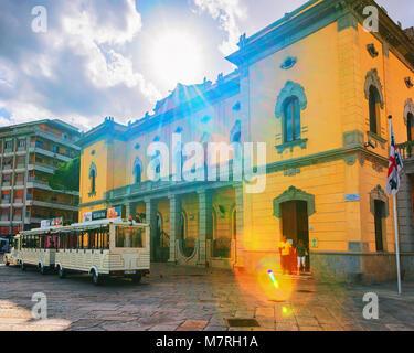Olbia, Italy - September 11, 2017: City hall on Corso Umberto I in the old city of Olbia, Sardinia, Italy - Stock Photo