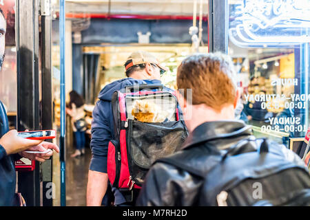 New York City, USA - October 30, 2017: Market food shop interior inside in downtown lower Chelsea neighborhood district - Stock Photo