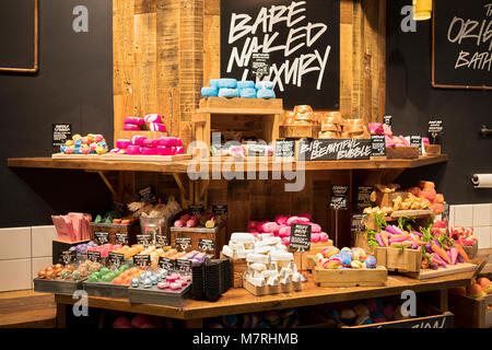 Colorful soap displays at the Lush store on East 14th Street in Greenwich Village, New York City. - Stock Photo