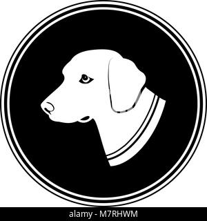 Illustration sign of white dog's head in black round. Silhouette in a Circle - dog. - Stock Photo