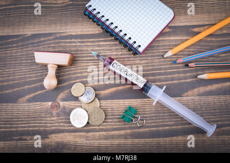 corruption concept. Medicine syringe with liquid inside and inscribtion - Stock Photo