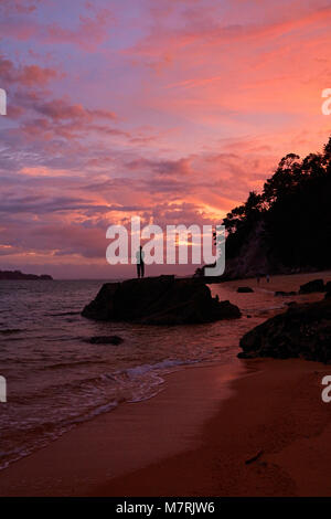 Person on rock at Observation Beach at sunset, Abel Tasman National Park, Nelson Region, South Island, New Zealand - Stock Photo