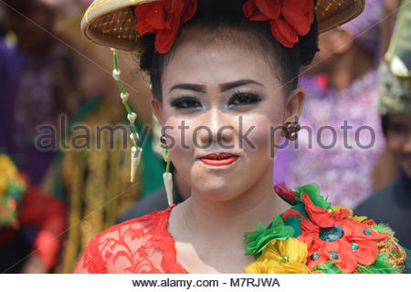 Karawang, West Java. Indonesia, 11 March 2018. Several Sundanese women participated in Cap Go Meh Parade wearing - Stock Photo