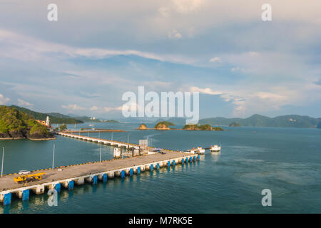 Panoramic view of harbor docks and back archipelago of langkawi in the malacca strait of andaman sea malaysia - Stock Photo