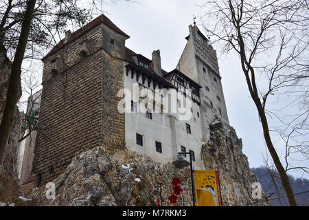 Bran, Romania. February 4, 2017. Bran Castle (Castelul Bran), commonly known as 'Dracula's Castle' - Stock Photo