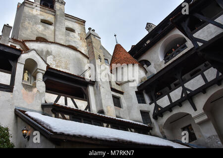 Bran, Romania. February 4, 2017. Inside the Bran Castle (Castelul Bran), commonly known as 'Dracula's Castle' - Stock Photo