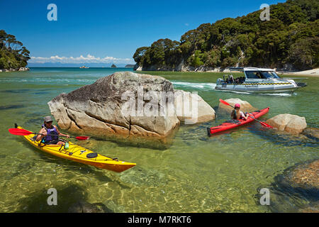 Kayakers and water taxi, Mosquito Bay, Abel Tasman National Park, Nelson Region, South Island, New Zealand (model - Stock Photo