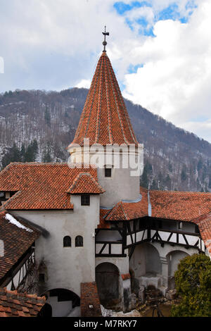 Bran, Romania. February 4, 2017. Tower of the Bran Castle (Castelul Bran), commonly known as 'Dracula's Castle' - Stock Photo
