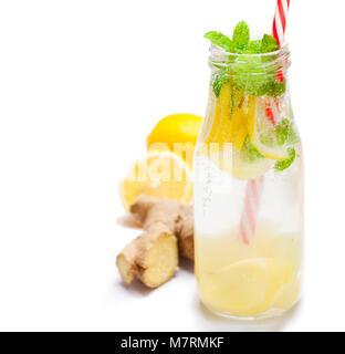 detox  organic ginger and lemon drink - Stock Photo