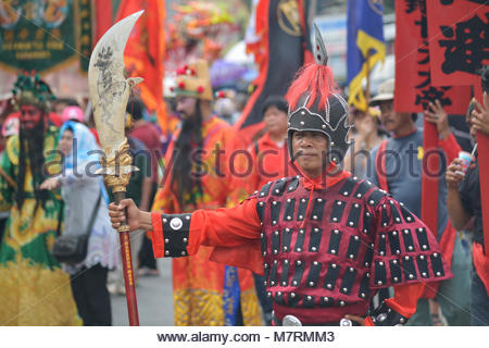 Karawang, West Java. Indonesia, 11 March 2018. Cosplayers at Cap Go Meh festival and Parade - Stock Photo