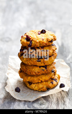 Homemade  pumpkin spice cookies with chocolate chips - Stock Photo