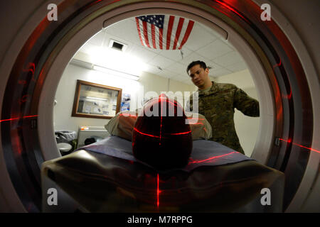 U.S. Air Force Senior Airman Freddy Toruno, 455th Expeditionary Medical Support Squadron diagnostic imaging technologists, - Stock Photo