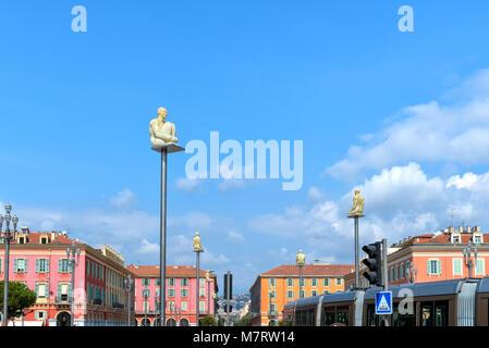 Provence, nice, France September 2017. Massena Place Square in Nice. - Stock Photo