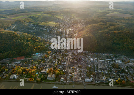 Aerial view, autumn in the Rhine Valley, Bad Breisig am Rhein, Rhineland, Rhine Valley, Rhineland-Palatinate, Germany, - Stock Photo