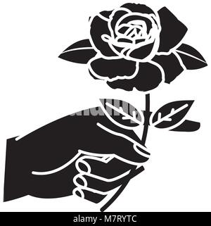 silhouette woman hand with rose petals and leaves - Stock Photo