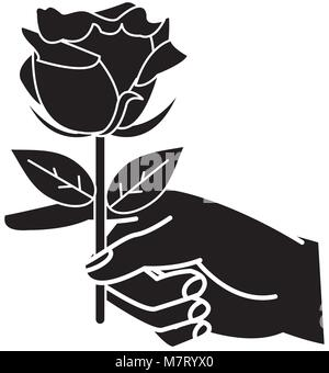 silhouette woman hand with nice rose petals and leaves - Stock Photo