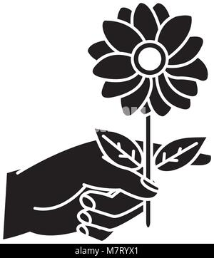 silhouette woman hand with nice flower petals and leaves - Stock Photo